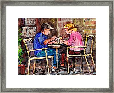 Breakfast At The Bistro Paris Style Cafe Original Quebec Art Carole Spandau Framed Print by Carole Spandau