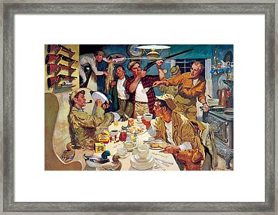 Breakfast At The Hunting Cabin Framed Print by Dwyer