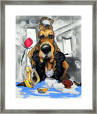 Breakfast At Tiffany's Basset Hound Caricature Art Print Framed Print