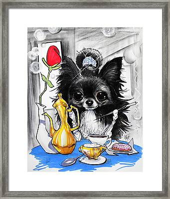 Breakfast At Tiffany's Papillon Caricature Art Print Framed Print