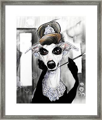 Breakfast At Tiffany's Whippet Caricature Framed Print