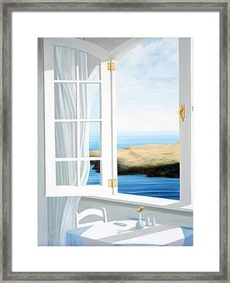 Breakfast In Santorini, Prints Available. Framed Print