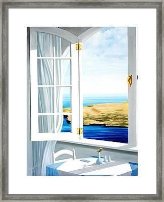 Breakfast In Santorini - Prints From Original Oil Painting Framed Print by Mary Grden Fine Art Oil Painter Baywood Gallery
