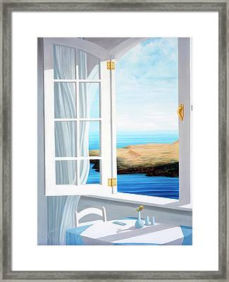 Breakfast In Santorini - Prints Made From Original Oil Painting Framed Print