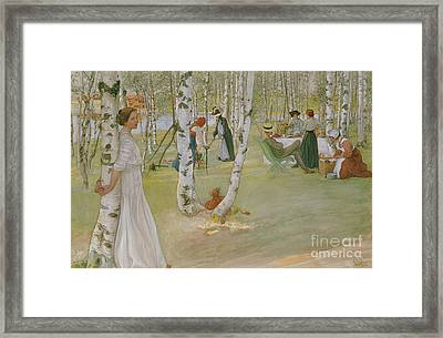 Breakfast In The Open, 1910 Framed Print by Carl Larsson