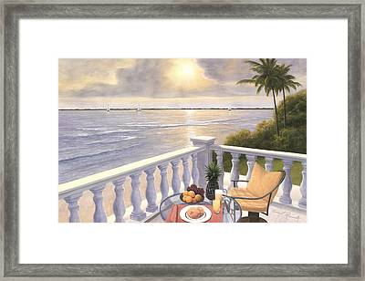 Breakfast On The Veranda Framed Print
