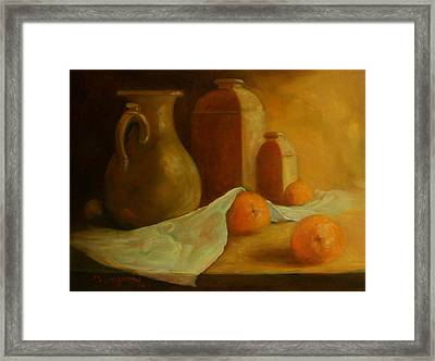 Breakfast Oranges Framed Print by Tom Forgione