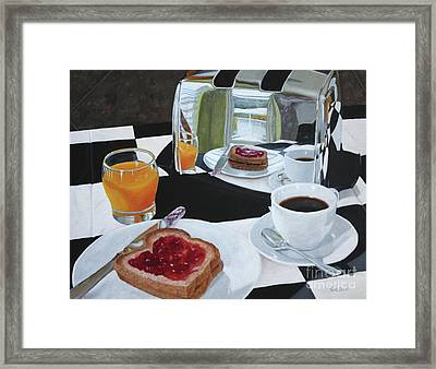 Breakfast Reflections Framed Print by Sid Ball