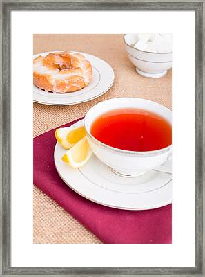Breakfast With Pastries, And Hot Tea With Lemon #2 Framed Print by Jon Manjeot