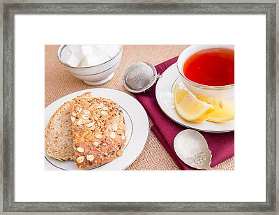 Breakfast With Pastries, And Hot Tea With Lemon #3 Framed Print by Jon Manjeot