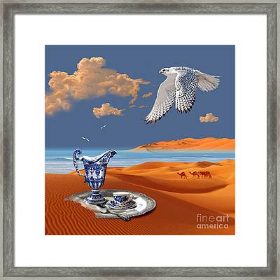 Framed Print featuring the digital art Breakfast With White Falcon by Alexa Szlavics