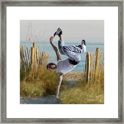 Breaking At The Beach Framed Print