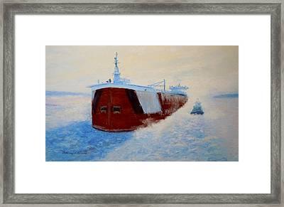 Breaking Ice For The Edgar B. Speer In Sturgeon Bay Framed Print by Bethany Kirwen