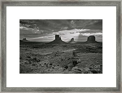 Breaking Light At Monument Valley - Black And White Framed Print