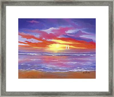 Framed Print featuring the painting Breaking Sun by Sena Wilson