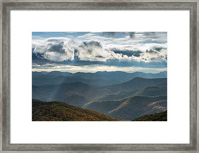 Blue Ridge Parkway Breaking Through  Framed Print