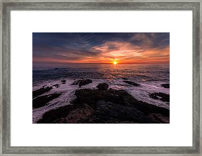 Breaking Waves At Sunset Framed Print
