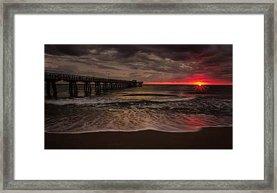 Breaking Waves At The Pier Framed Print