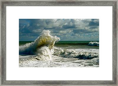 Breakwater Backwash Framed Print by Michael Cinnamond