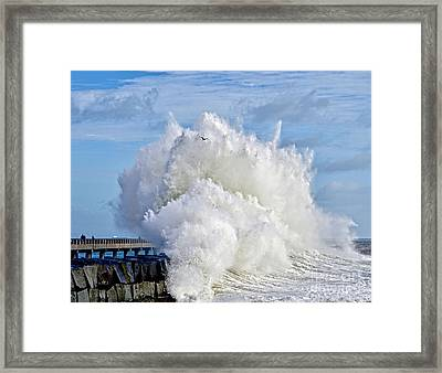 Breakwater Explosion Framed Print by Michael Cinnamond