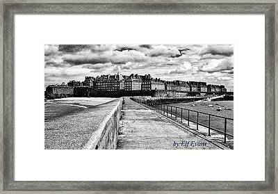 Framed Print featuring the photograph Breakwater Walkway To Intra Muros by Elf Evans