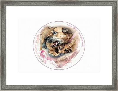 Breast Cancer Awareness In Dogs Framed Print by Adelita Rog
