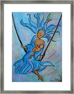 Breastfeeding Everywhere Breastfeeding On A Swing Framed Print by Gioia Albano