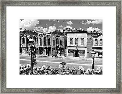 Breckenridge Colorado Mountains Black And White - Ski Town Framed Print