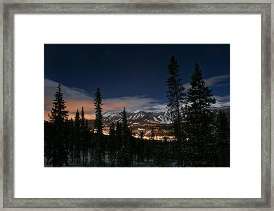 Breckenridge Moon Lit Night Framed Print