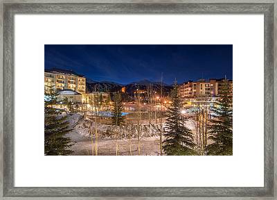 Breckenridge Village Winter Evening Framed Print
