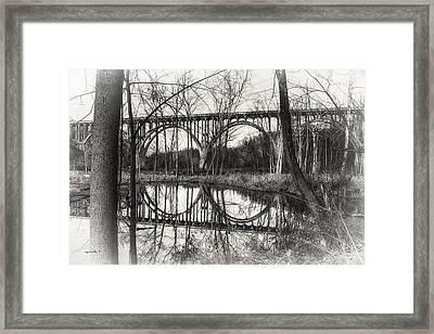 Brecksville _ Northfield Bridge B W Framed Print by Michael Rankin