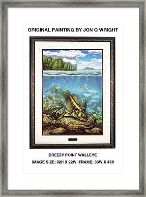 Breezy Point Walleye Original Framed Print by Jon Q Wright