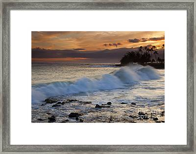 Brennecke Waves Sunset Framed Print by Mike  Dawson