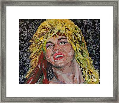 Bret Michaels 80s Hair Bands Poison Framed Print by Robert Yaeger