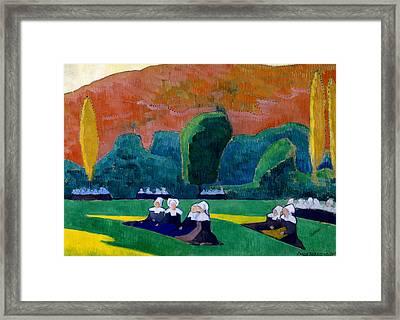 Breton Women Attending A Pardon Framed Print by Emile Bernard