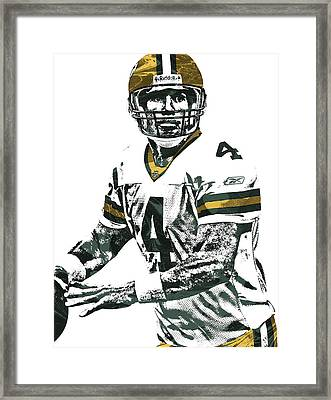 Brett Favre Green Bay Packers Pixel Art 4 Framed Print by Joe Hamilton