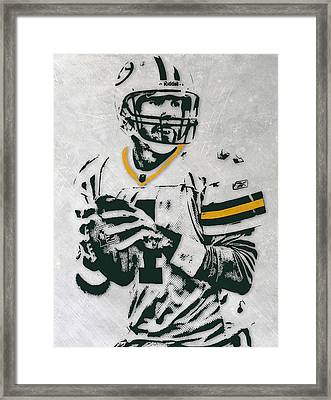 Brett Favre Green Bay Packers Pixel Art Framed Print