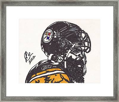 Framed Print featuring the drawing Brett Keisel by Jeremiah Colley