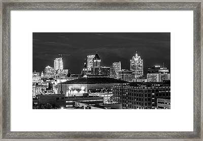 Framed Print featuring the photograph Brew City At Night by Randy Scherkenbach