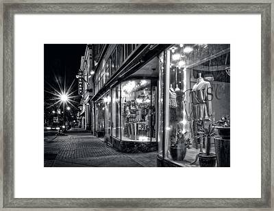 Brewery And Boutique In Black And White Framed Print