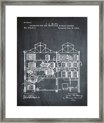 Brewing Malt Liquors Patent 1894 In Chalk Framed Print by Bill Cannon