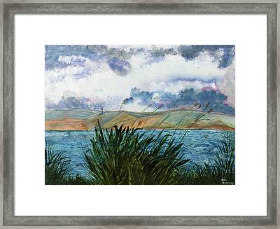 Brewing Storm Over Lake Watercolor Painting Framed Print