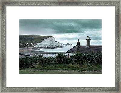 brewing storm Seven Sisters - England Framed Print