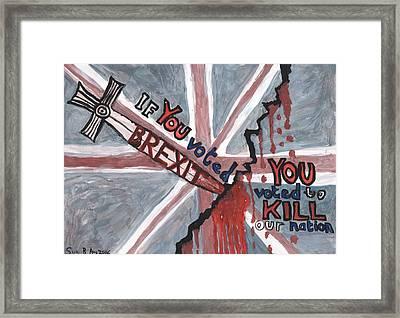 Brexit Wrecks It Framed Print by Sushila Burgess