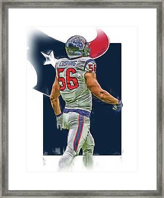 Brian Cushing Houston Texans Oil Art Framed Print