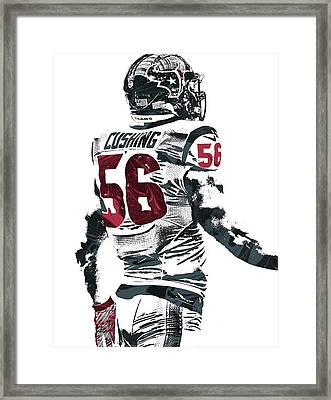 Framed Print featuring the mixed media Brian Cushing Houston Texans Pixel Art 2 by Joe Hamilton