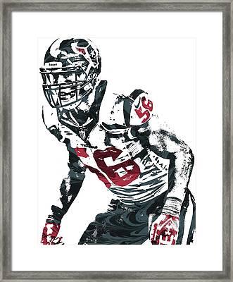 Framed Print featuring the mixed media Brian Cushing Houston Texans Pixel Art by Joe Hamilton