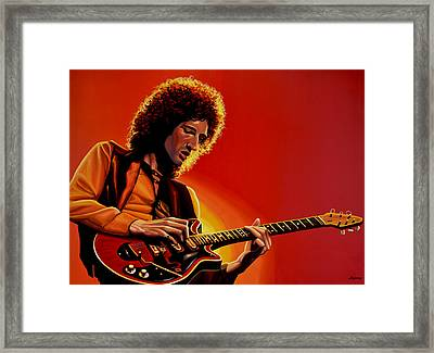 Brian May Of Queen Painting Framed Print by Paul Meijering