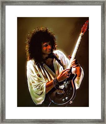 Brian May Portrait Framed Print by Scott Wallace
