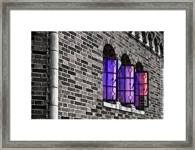 Framed Print featuring the photograph Brick And Glass - Vent Windows Of Comfort Station   -   1927comfortstationbwc121773 by Frank J Benz